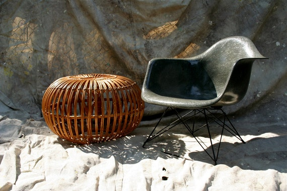 Vintage Midcentury Modern Italian Reed Foot Stool Ico Parisi Pouffe Hassock Franco Albini Ottoman Table Chair