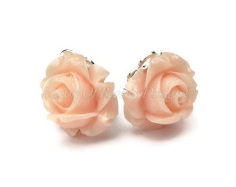 Peach Rose Spring Flower Clip On Earrings