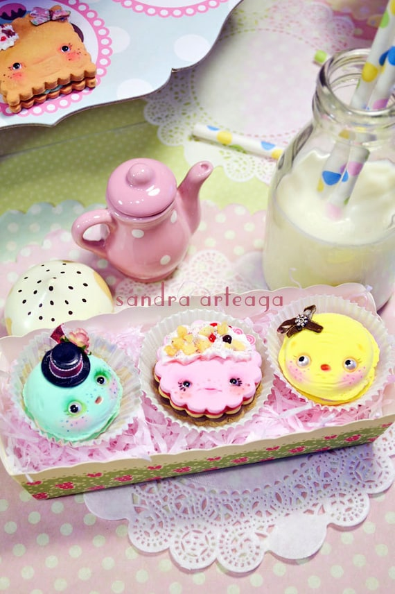 Set of 3 funny cookies in a pretty box - art doll ooak wonderland tea party fantasy magical fairy tale macarons