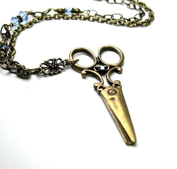 Vintage Style Scissor Necklace, Blue Swarovski, Scrapbooking, Sewing, Crafting, Hair Stylist