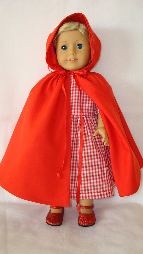 """American Girl Doll Clothes/Little Red Riding Hood Dress and Cape/READY TO SHIP/Made to fit 18"""" american girl doll"""