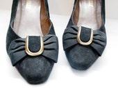 SALE...80s black suede BALLY shoes. pumps with bows - us 7.5 eur 38 uk 5