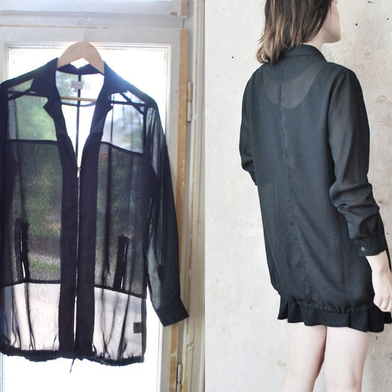 Long sheer black blouse. 90s GOTHIC chiffon blouse with zipper - xs, small
