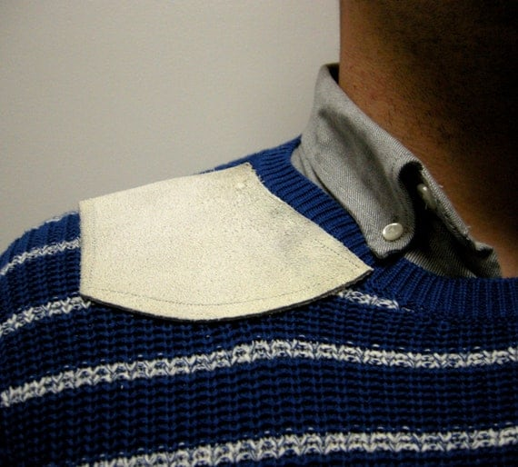 Mens Hipster Sweater with Worn White Leather Shoulder Patch Size Medium from the Paul McCall Line for Mens Fashion