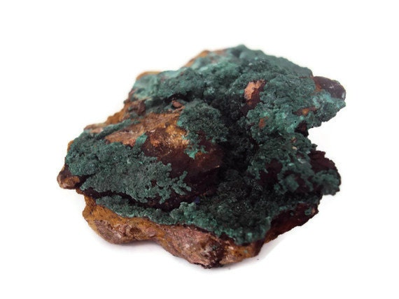 Velvet Malachite Rough Stone on Matrix, Green Fibrous Rock, Metaphysical, New Age, Reiki Healing Supplies, 37.7 grams
