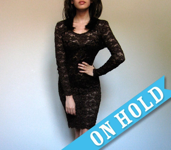 See Through Dress Vintage Bodycon Lace Mini Dress Party Brown L/ XL