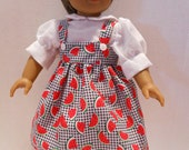 American Girl Doll Clothes  Back to School Two Piece Jumper Watermelons