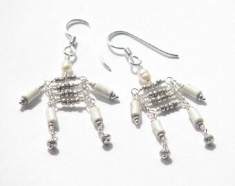Skeleton inspired snowflake obsidian pearl dangle earrings- white silver Halloween earrings- sterling- science- anatomy- geek chic- Bones