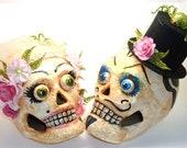 Paper Mache Skulls MR. and MRS. JONES