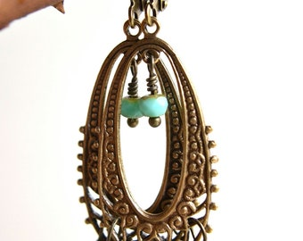 Boho Wire Wrapped Earring in Light Turquoise