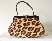 50s 60s fur leopard print box bag . animal print purse