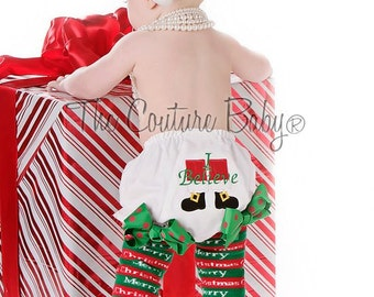 READY 2 SHIP I Believe Santa Claus Diaper Cover Bloomers for Christmas