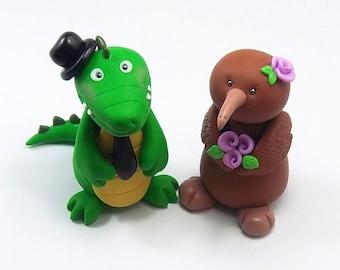 Kiwi Bird, Crocodile, Wedding Cake Topper, Personalized Figurines, Animal Cake Topper