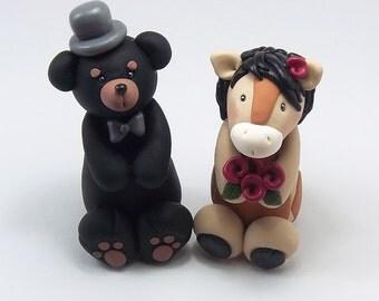 Custom Wedding Cake Topper, Black Bear and Horse Wedding Cake Topper, Handmade Personalized Figurines, Animal Cake Topper, Cute Cake Topper