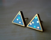 turquoise confetti small brass triangle stud earrings