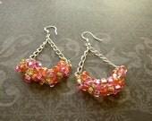 Pink Orange Gold Beaded Dangle Earrings