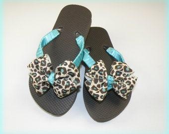 Snazzy Cheetah  Flip Flops Wedding Flip Flops Toddler Flip flops, Little Girl Flip Flops, Teen Flip Flops Beach Flip Flops