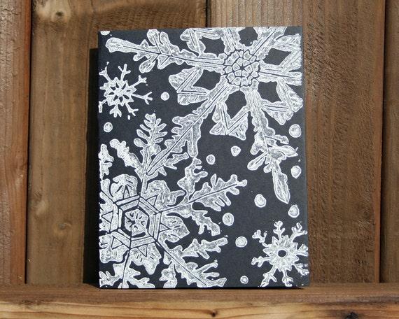 items similar to winter snowflakes linocut block print