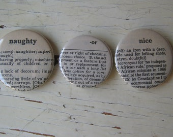 Naughty or Nice Vintage Dictionary Magnet Set of 3