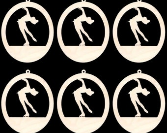 6 Pieces Ice Skater Ornament 4 inches tall  Natural Craft Wood Cutout 1401-4