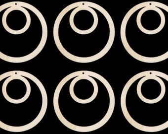 Make Earrings 6 pieces Circle Shape 3 inches Tall with Hole Natural Craft Wood Cutout earring 008-3