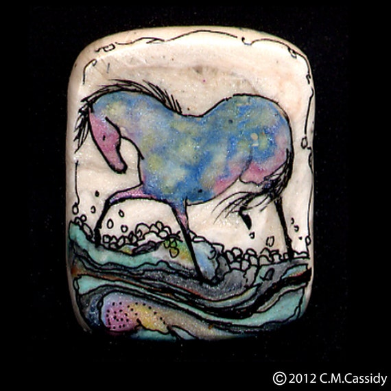 Fun in the Water Horse Pin in Pink Aqua Blue and Very Light Green