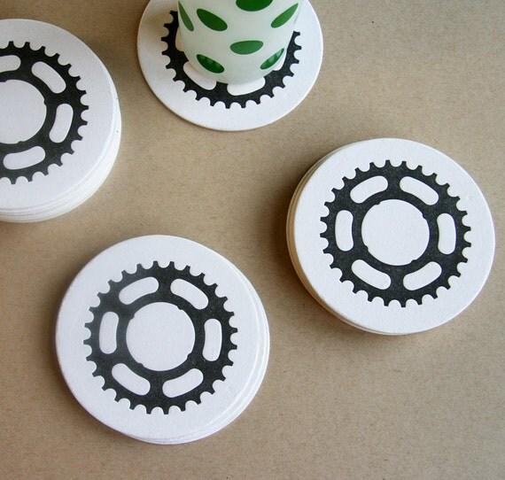 Letterpress Coaster - Bike Gears (set of 8)