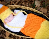 Candy Corn Cocoon and Earflap hat Crochet Pattern PDF 632 - SandysCapeCodOrig
