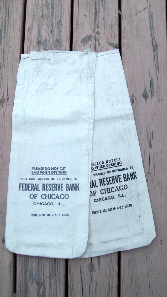 2 Vintage Bank Bags Chicago Federal Reserve Circa 1972