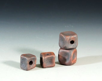 Ceramic Beads / Rustic Clay Beads / Handmade Stoneware Clay / Set of 4 Beads