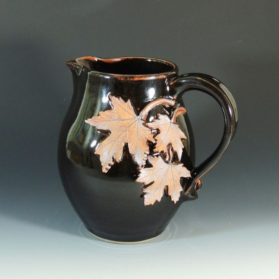 Stoneware Pitcher with Maple Leaves / Serving Pitcher / Display Pitcher / Home Decor / Wheel Thrown Pottery in Stoneware Clay / Fall Leaves
