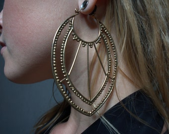 Granulated Extra Large Earrings In Bronze