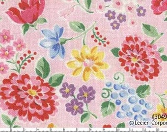 Japanese, Lecien, OLD NEW 30'S, Spring Meadow Flowers in Pink, 30493-20, 11 X 18 inches