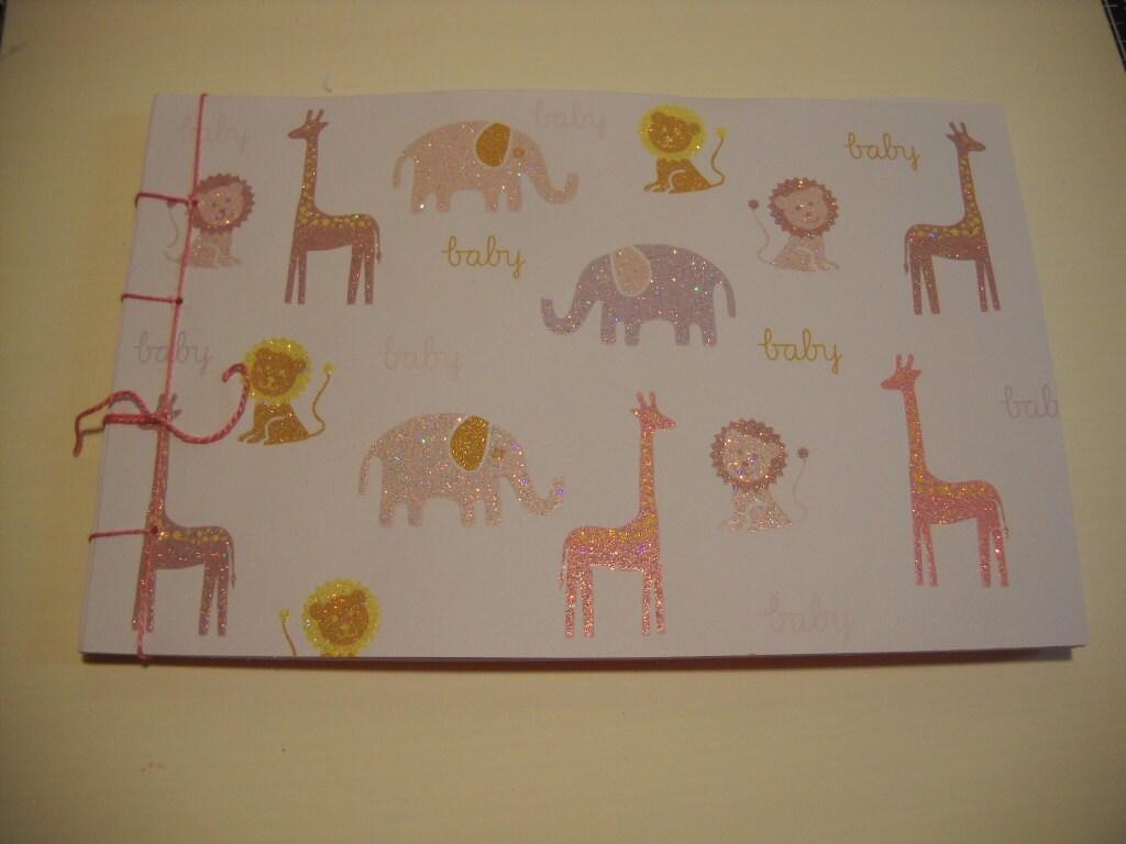 baby shower guest book keepsake album baby girl zoo