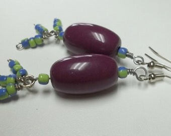 Vintage up cycled purple bead earrings,women,teenspurple bead earrings,resin purple beads,purple/green seed beads,punk,goth,rock,ecofriendly