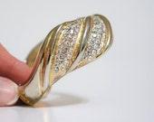 Vintage Bracelet / Cuff / Rhinestone / Wavy