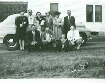 Family Photo In Front of the New Car Grandma is NOT Happy  Vintage Antique Photo Photograph