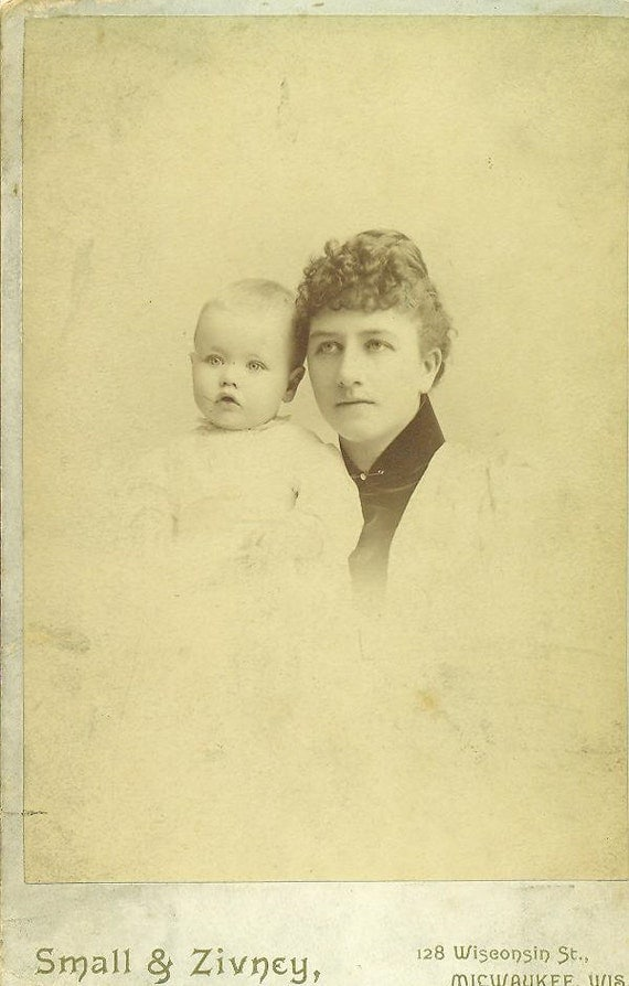 Mrs Watkins And Infant Baby Son John Milwaukee Wisconsin Studio Portrait Cabinet Card Photo Antique Photograph