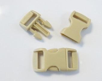 "10pc 3/8"" Tan Contoured Side Release Buckles For Paracord Bracelets H78-6 (10pc)"