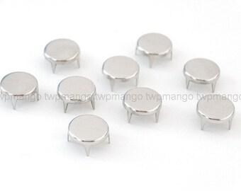 100 Flat Round Metal Studs Spots Nailheads Spikes 8mm N64-10