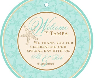 Wedding Favor Tags - 25 Classy Green Starfish Tags - 4 inch Round OOT Welcome Tags - Wedding Hotel Guests Bag Tags