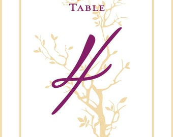 Wedding Table Numbers Fall Tree Branch Autumn Leaf in your Fall Colors Customizable 5x7 1-10 Tented