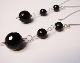 Black Earrings - Black Onyx Earrings - Black Onyx Faceted Gemstone Wire Wrap Jewelry Dangle Earrings - Black Sterling Silver Earrings