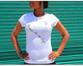 Fitted Poetry T Shirt. SMALL Women's Cotton and Spandex in White