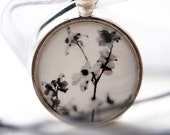 Dogwood Flower Necklace titled Delicate on pretty gray organza ribbon from Hazel Berger's Photography