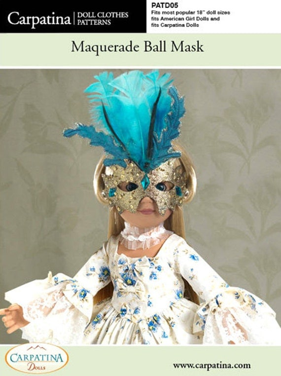 """Ball Mask Doll Pattern as Downloadable PDF - fits 18"""" American Girl and Carpatina dolls"""