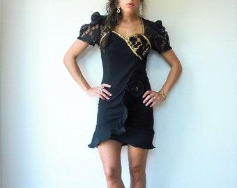 Vintage 80's Black and Gold Origami Dress / Sheer Lace Shoulders / Gold Sequin Mini Dress
