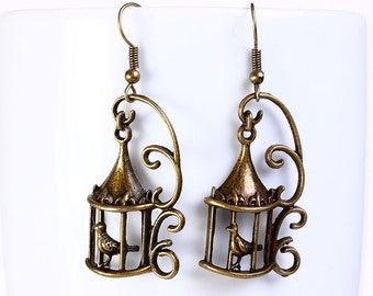 Antique brass bird in a cage drop dangle earrings (567) - Flat rate shipping