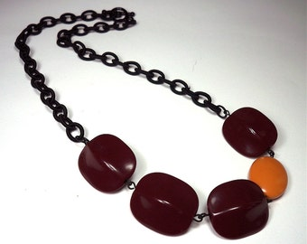 Oxblood and Mustard Yellow Colorblock Vintage Lucite Bead Necklace / Black Silk Chain