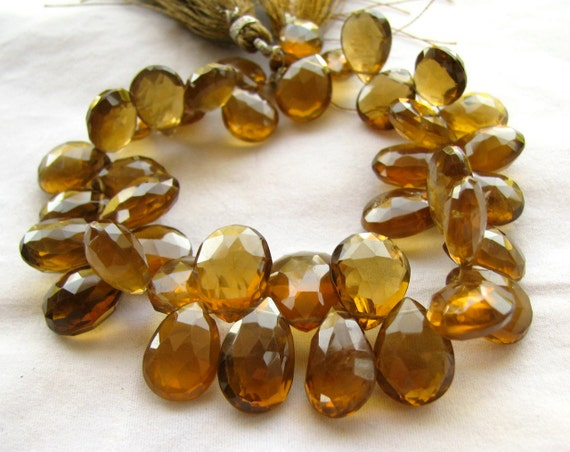 """RESERVED Dark Beer Quartz Faceted Pear Briolettes, 7.5"""" inch strand, 40 big beads 11mm - 16.5mm (8w57c)"""